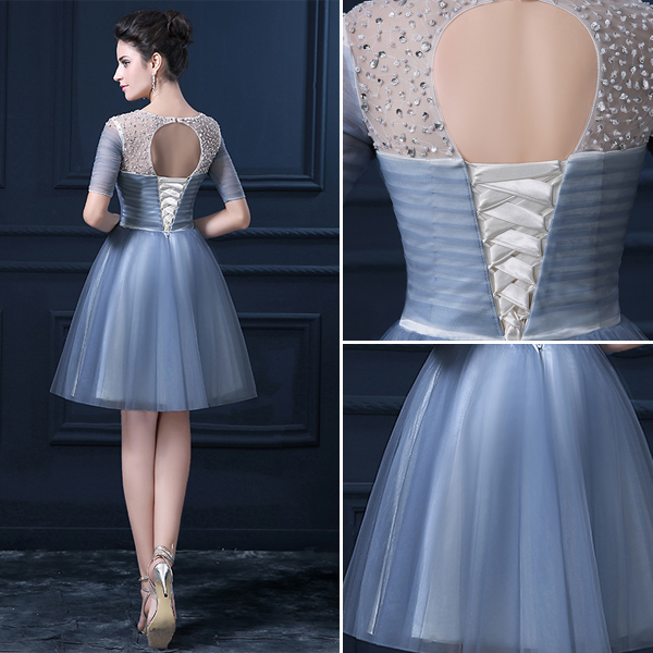 A-line 1/2 Sleeves Beading Sequins Knee Length Ruffles Organza Party Dress
