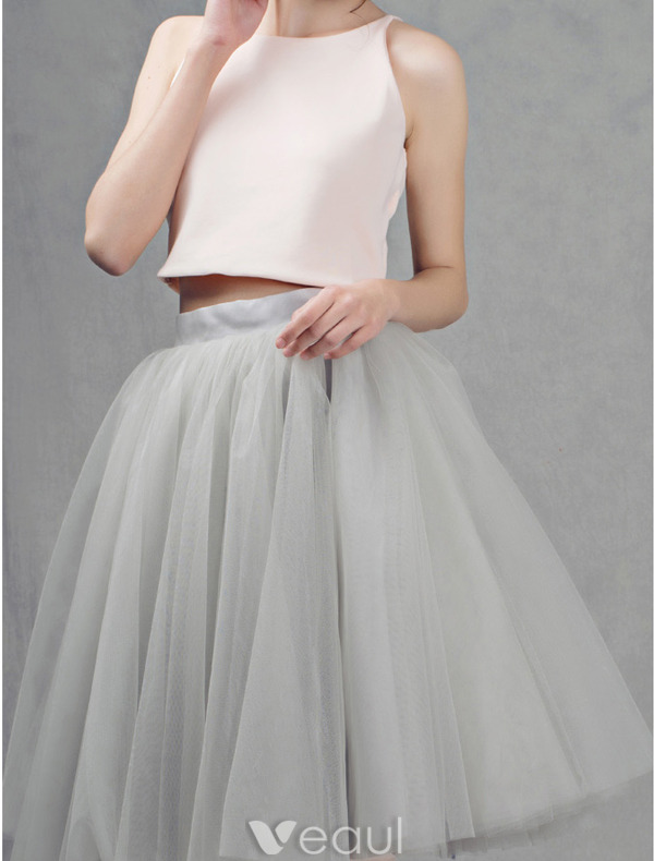 All-purpose Style Grey Tulle Short Skirt Dress