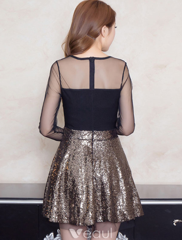 Backless Gold Party Dress Short Sequin Dress With Sleeves