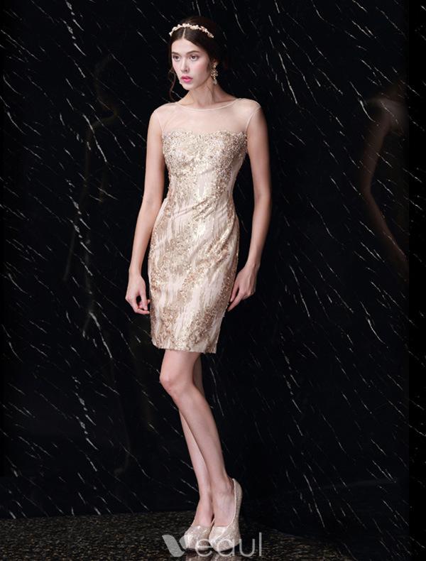 Beautiful Gold Sequin Dress Backless Little Party Dress