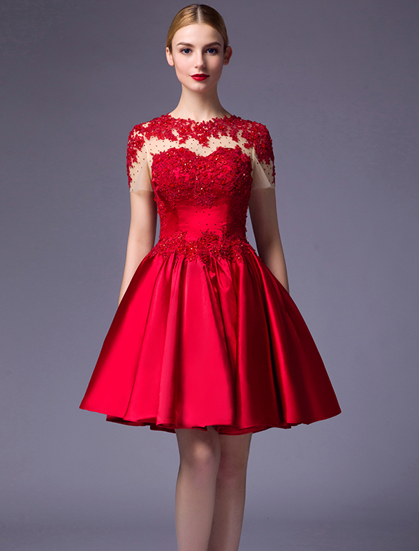 Beautiful Party Dresses 2016 Scoop Neck Applique Lace Beading Ruffle Red Satin Short Dress