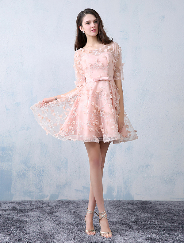 Beautiful Party Dresses 2016 Scoop Neckline Pearl Pink Lace Tulle With Flowers Short Dress