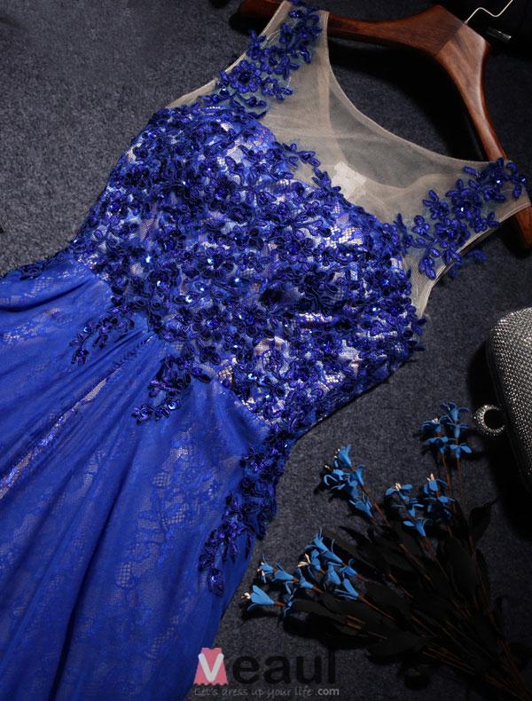 Beautiful Party Dresses 2016 Scoop Neckline Royal Blue Lace Chiffon Long Evening Dress