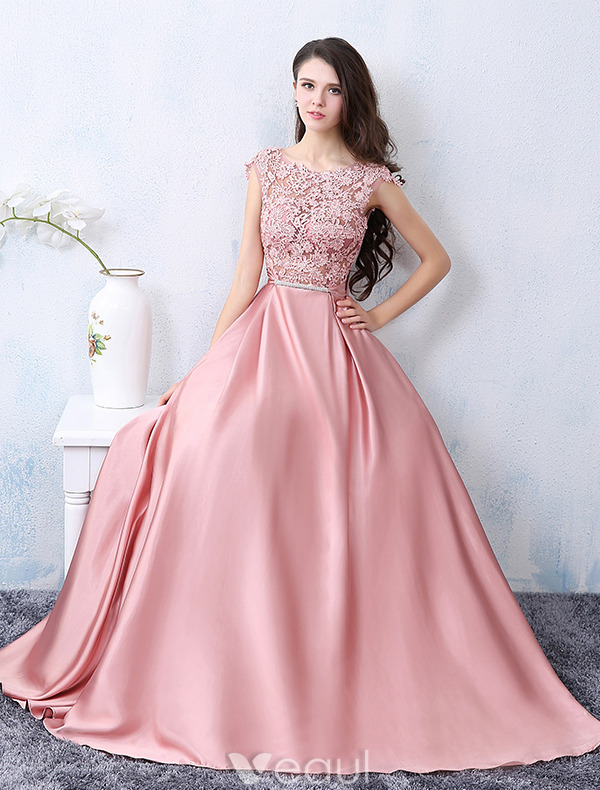 Beautiful Party Dresses 2016 Square Neckline Applique Lace Pink Satin Formal Dress With Bow-knot