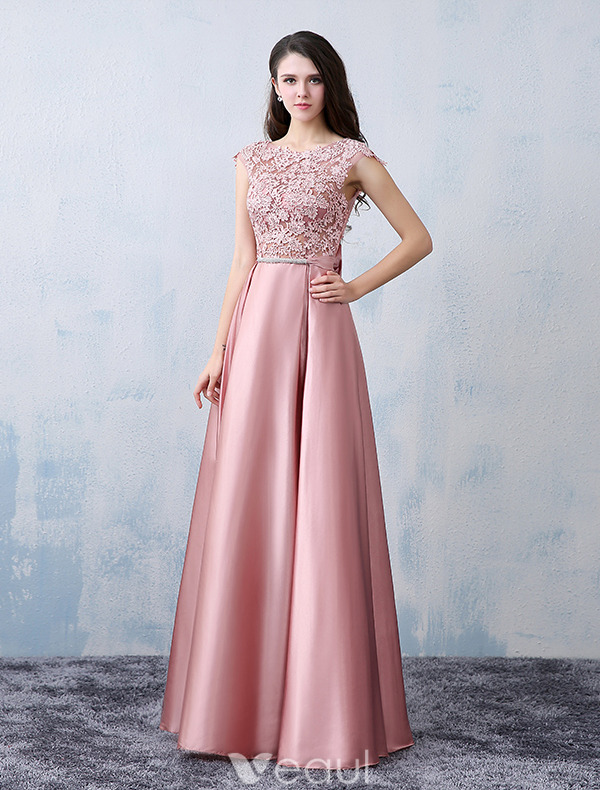 Beautiful Party Dresses 2016 Square Neckline Applique Lace Pink ...