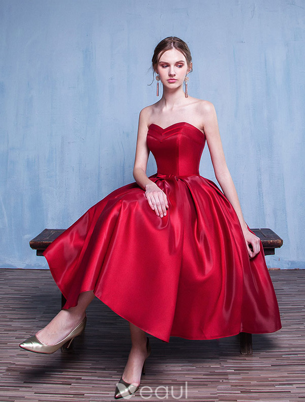 Beautiful Party Dresses 2116 Sweetheart Ruffle Burgundy Satin Tea Length Dress