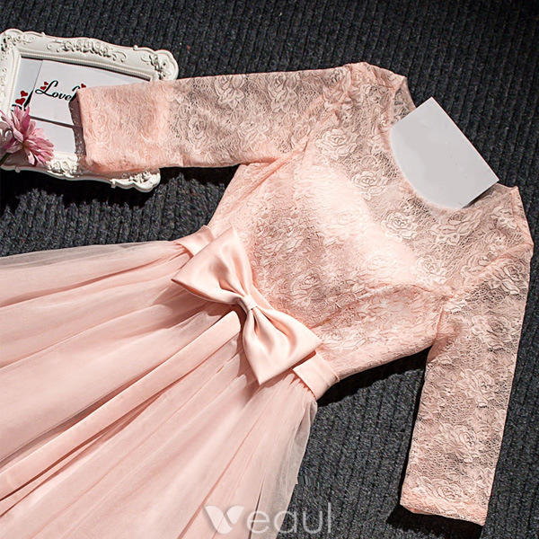 Beautiful Pink Party Dress Short Lace Dress With Bowknot Sash