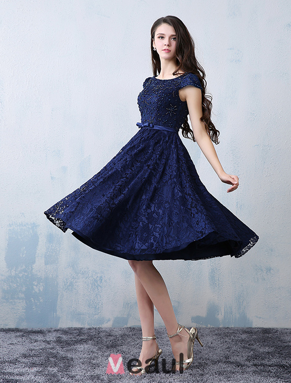 Beautiful Scoop Neckline Beading Applique Lace Party Dress With Sash