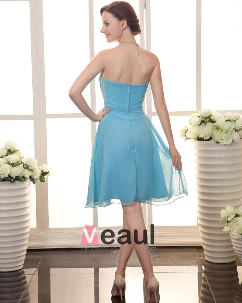 Chiffon Beading Ruffle Strapless Knee Length Cocktail Party Dresses