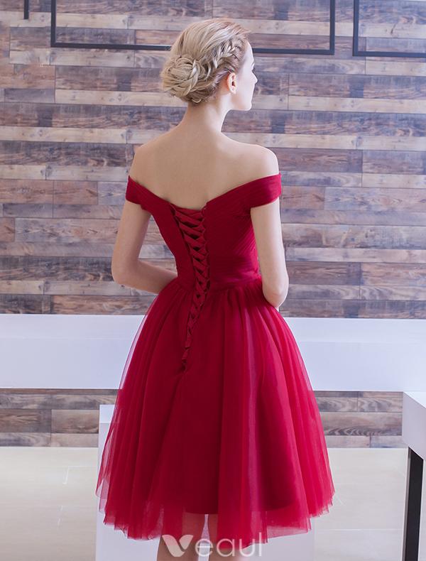 Elegant Party Dress 2016 Off The Shoulder Ruffle Tulle Knee Length Short Burgundy Cocktail Dress