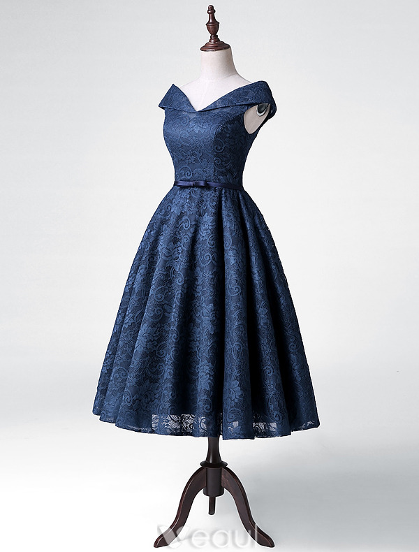 Elegant Party Dresses 2016 A-line V-neck Tea Length Navy Blue Lace Dress