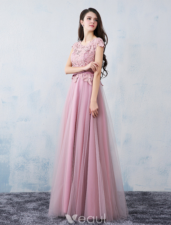 Elegant Party Dresses 2016 Applique Lace Beading Pearls Pink Tulle Long Formal Dress With Sash