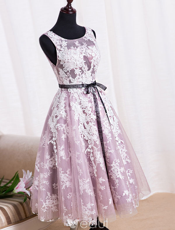 Elegant Party Dresses 2016 Scoop Neckline Tea Length Applique Lace Lilac Tulle Backless Formal Dress