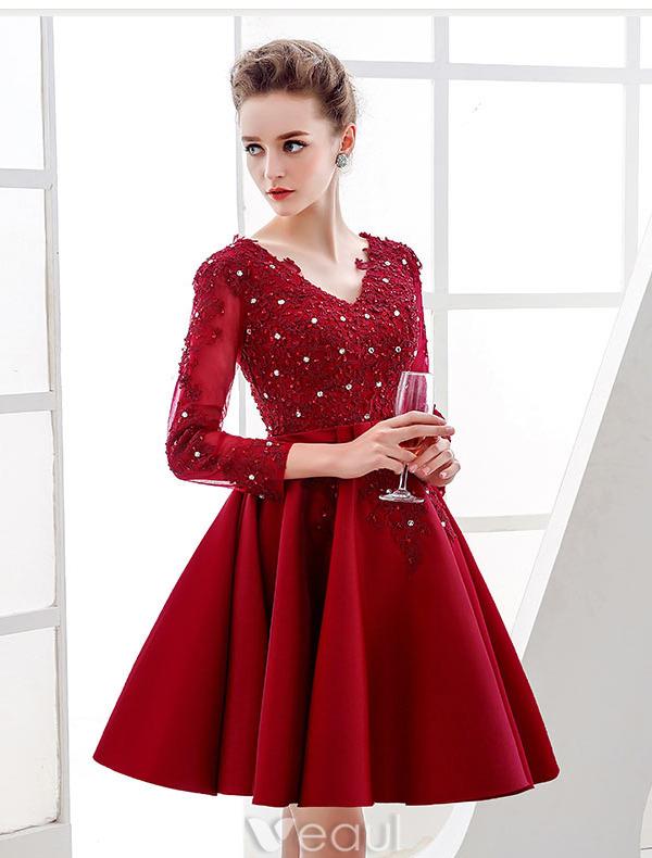 Elegant Party Dresses 2016 V-neck Sequin Applique Lace Burgundy ...