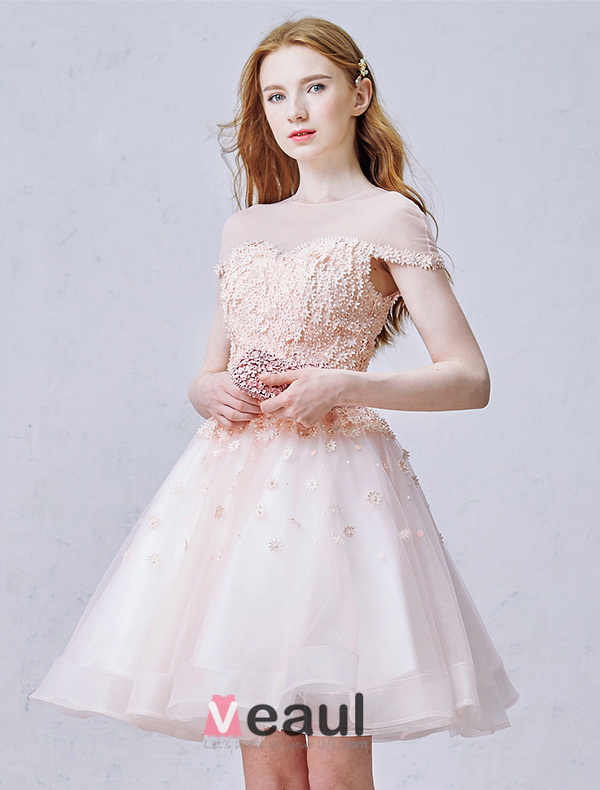 Elegant Pink Party Dress Organza Cocktail Dress With Flowers ...