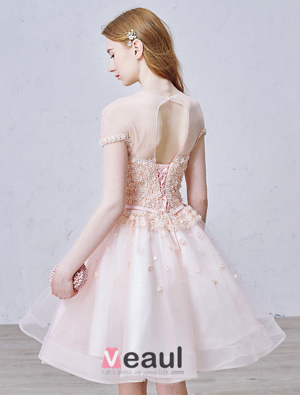 Elegant Pink Party Dress Organza Cocktail Dress With Flowers