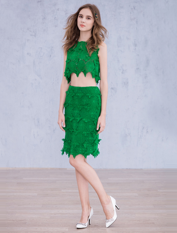Fashion Party Dresses 2016 Green Lace Knee Length Dress