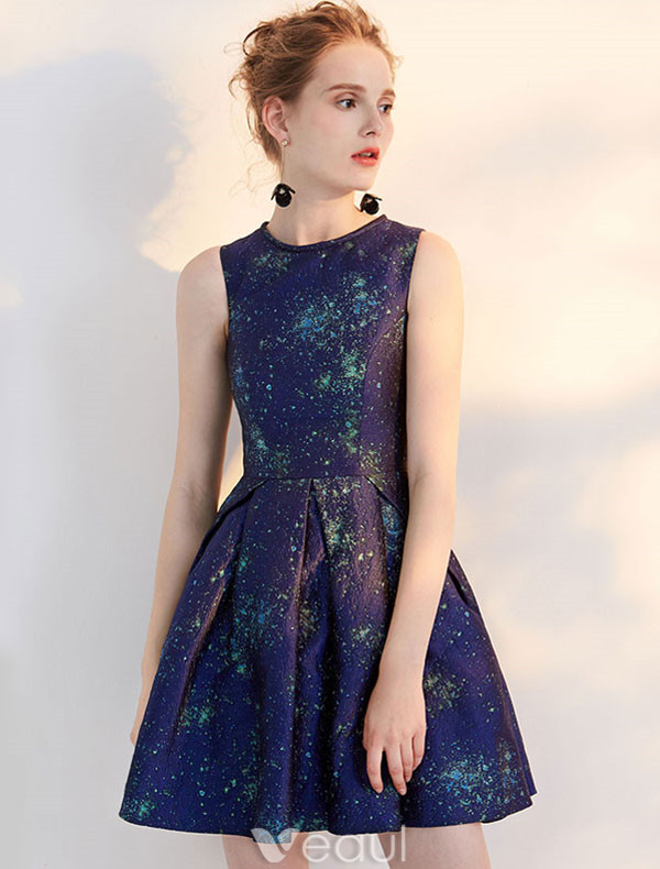 Fashion Short Party Dress 2017 Night Blue Cocktail Dress