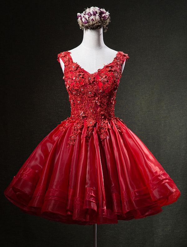 Gorgeous Red Party Dresses 2016 Applique Lace V-neck Short Organza Cocktail Dress