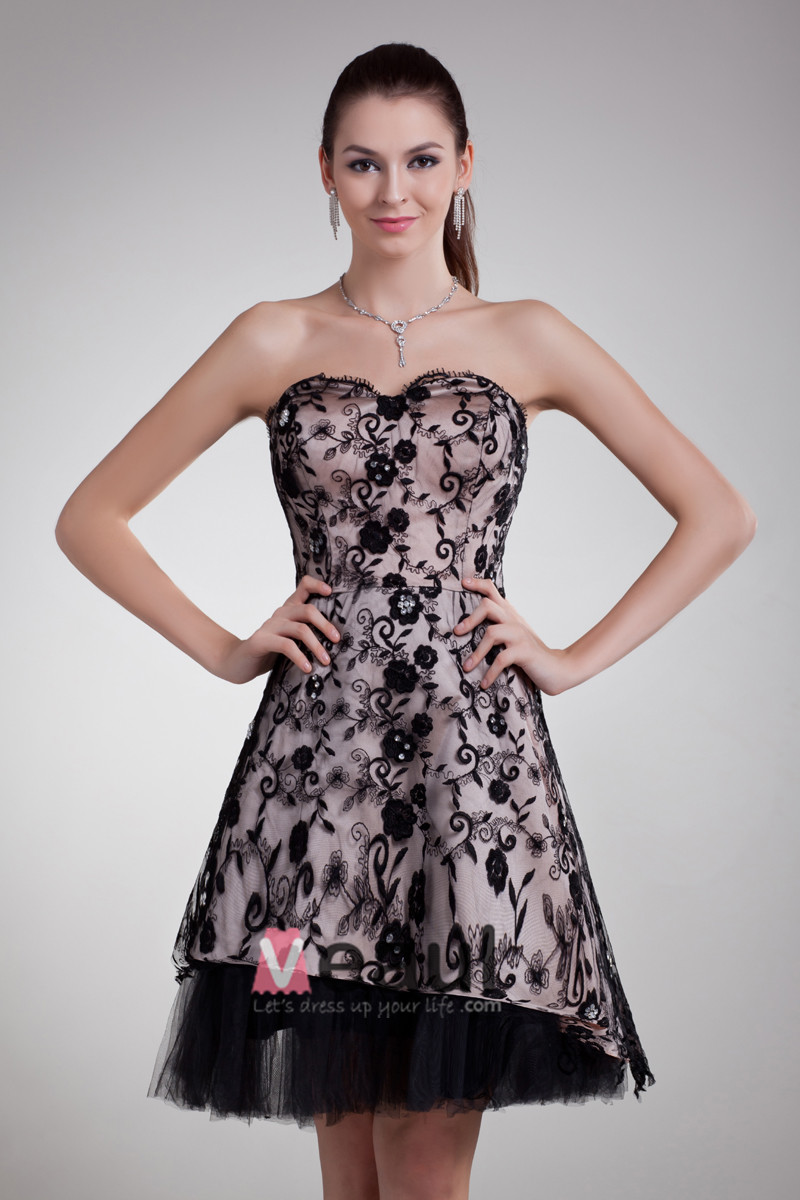 Lace Applique Beads Sweetheart Mini Women Cocktail Party Dress