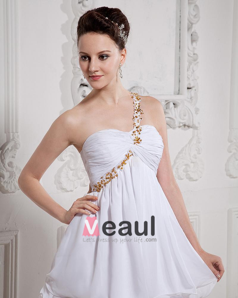 One Shoulder Ruffle Bead Chiffon Thigh Length Cocktail Party Dresses