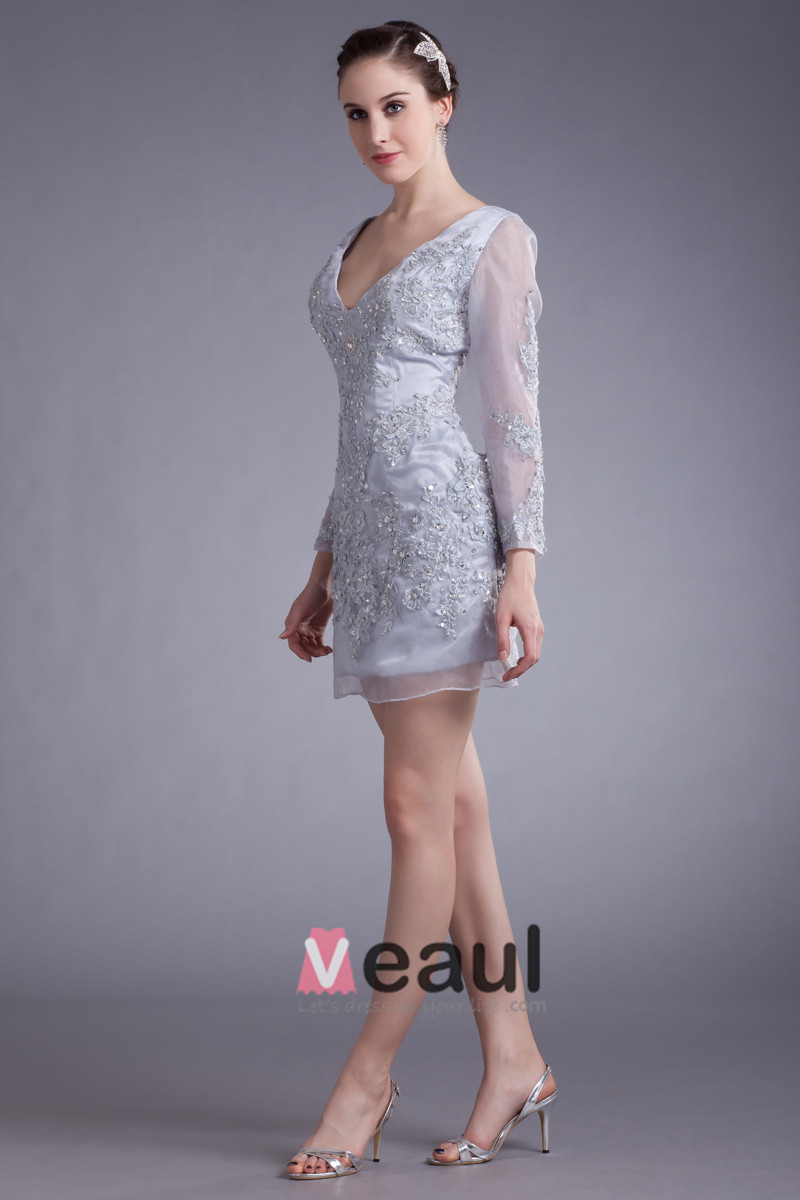 Organza Beads Applique V Neck Mini Party Dress