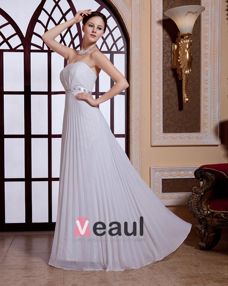 Pleated Sequins Waist Strapless Zipper Chiffon Women Evening Party Dress