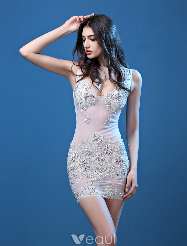 Sexy Party Dresses 2016 Deep V-neck Applique Sequins Lace Beading Rhinestone Backless Mini Dress
