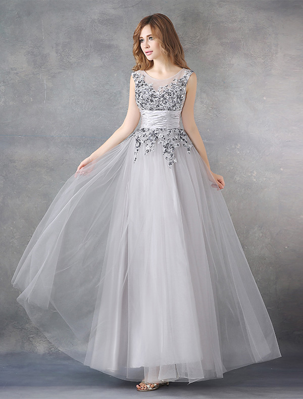 Sparkly Party Dresses 2016 Scoop Neckline Sequins Ruffle Grey Chiffon Long Evening Dress