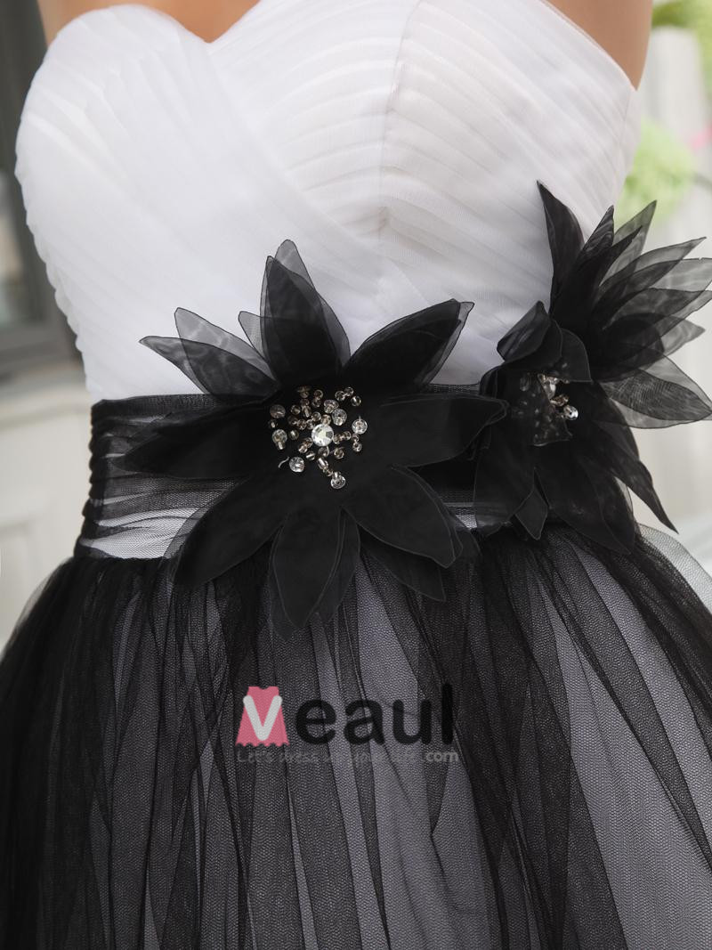 Thigh Length Strapless Neckline Flowers Beading Tulle Charmeuse Woman Party Dress