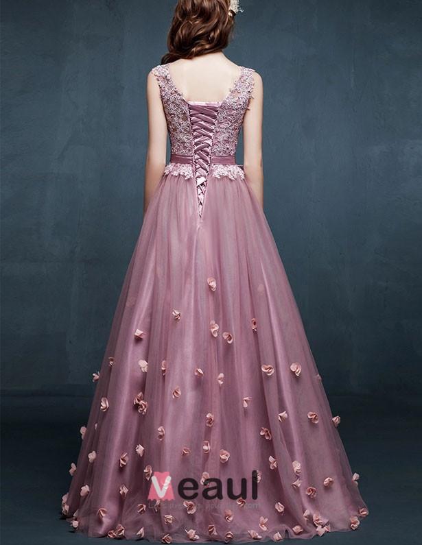 2015 Shoulders V-neck Embroidered Flowers Evening Dress Prom Dress