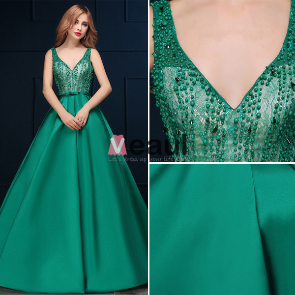 2016 Deep V-neck Beaded Lace Backless Dark Green Satin Long Prom Dress