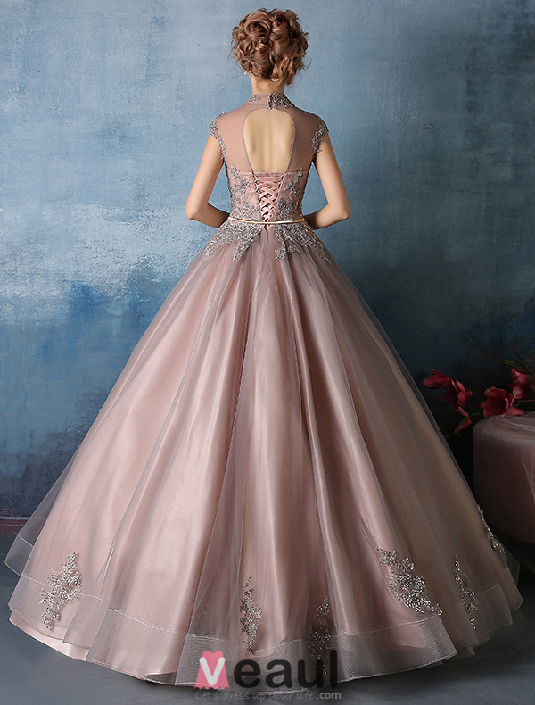 2016 Elegant High Neck Applique Glitter Lace Cameo Brown Organza Prom Dress With Metal Leaf Sash