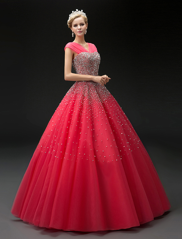 2016 Fashion Ball Gown Red Tulle V-neck Sequins Prom Dress