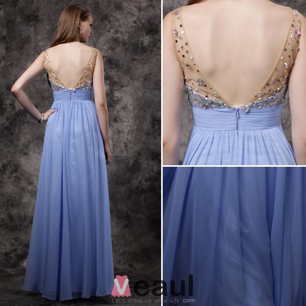 2016 Sparkly V-neck Sequins Beading Rhinestone Crystal Ruffle Blue Chiffon Prom Dress