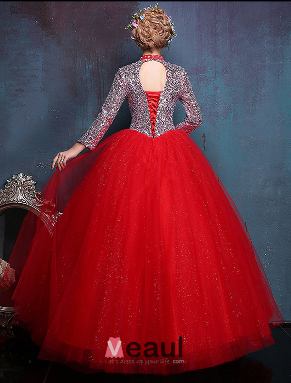 2016 Vintage High-neck Sequin And Crystal Red Organza Prom Dress