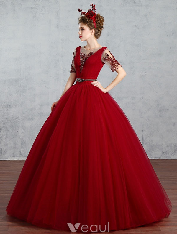 2017 Elegant Prom Dress With Sleeves Burgundy Ball Gown Backless