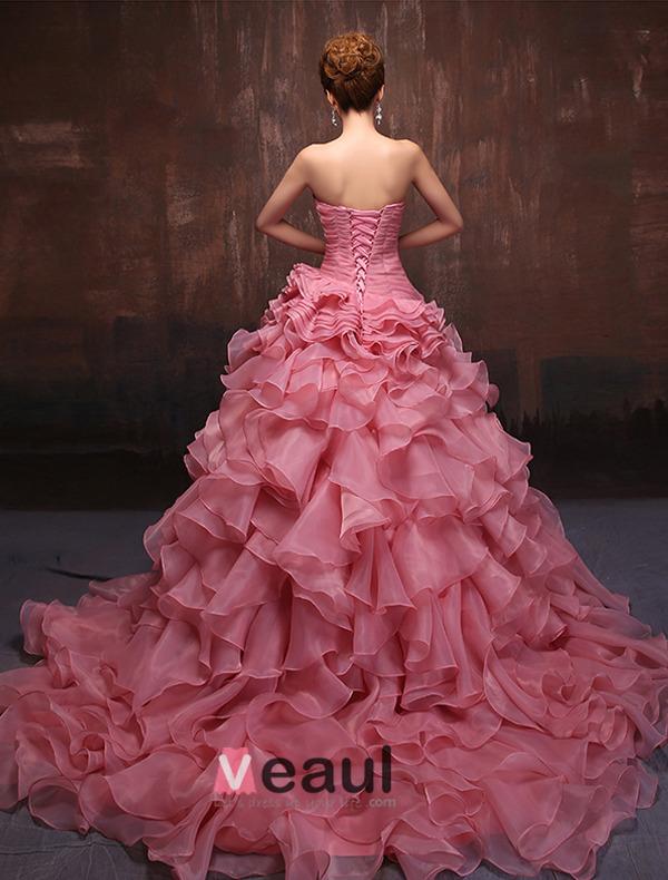 Amazing Sweetheart Sleeveless Cascading Ruffle Organza Prom Dress
