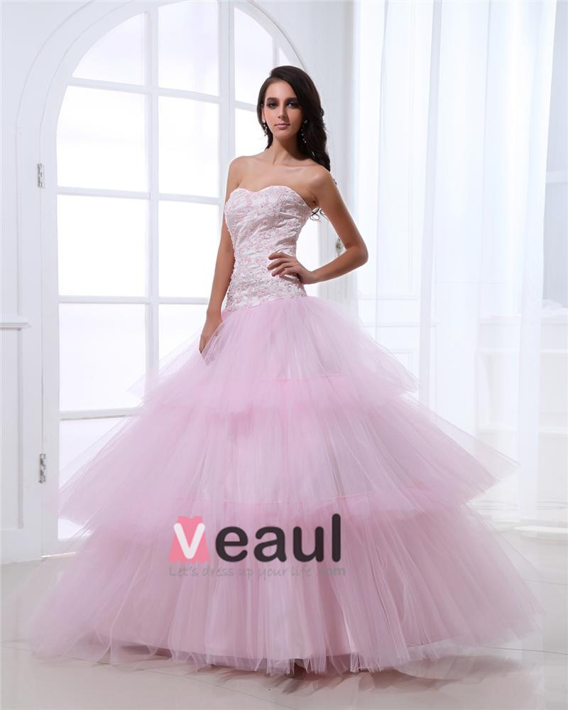 Ball Gown Elegant Yarn Layered Sweetheart Straps Floor Length Quinceanera Prom Dress
