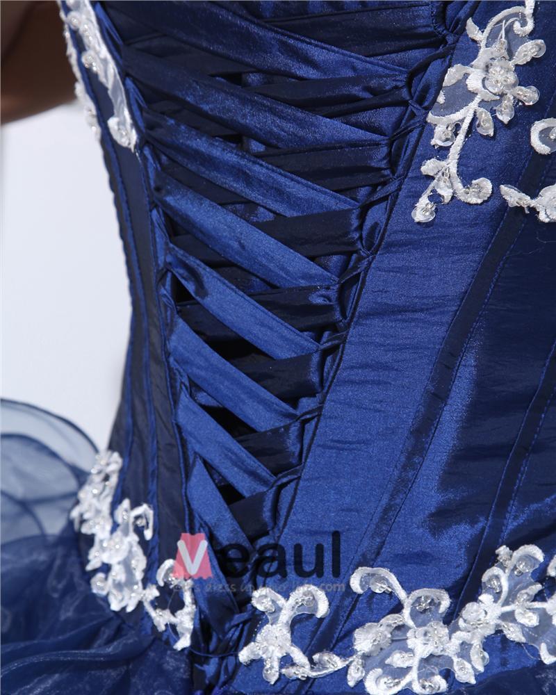 Ball Gown Organza Taffeta Ruffle Beading Applique V Neck Floor Length Quinceanera Prom Dresses