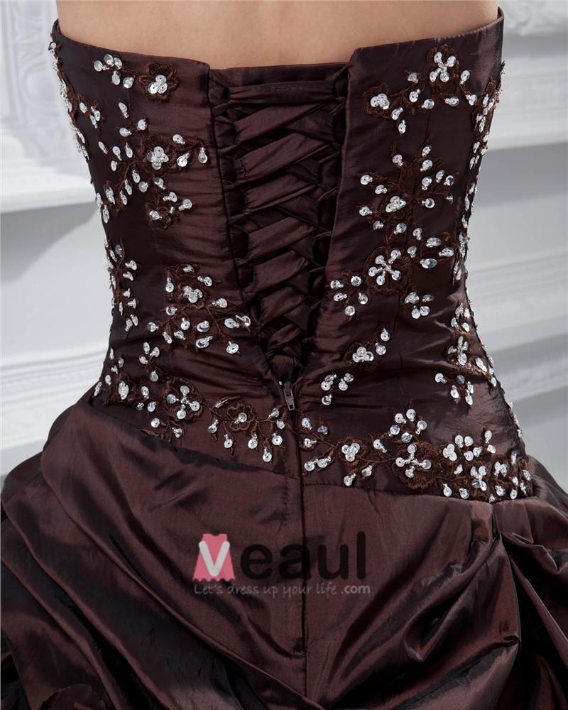 Ball Gown Sweetheart Beading Ruffle Floor Length Taffeta Quinceanera Prom Dress
