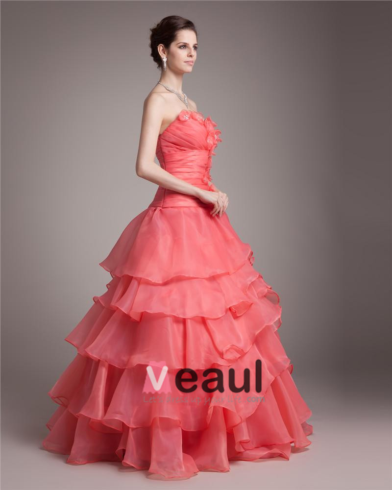 Ball Gown Sweetheart Floor Length Ruffles Applique Beading Pleated Organza Women Quinceanera Prom Dress