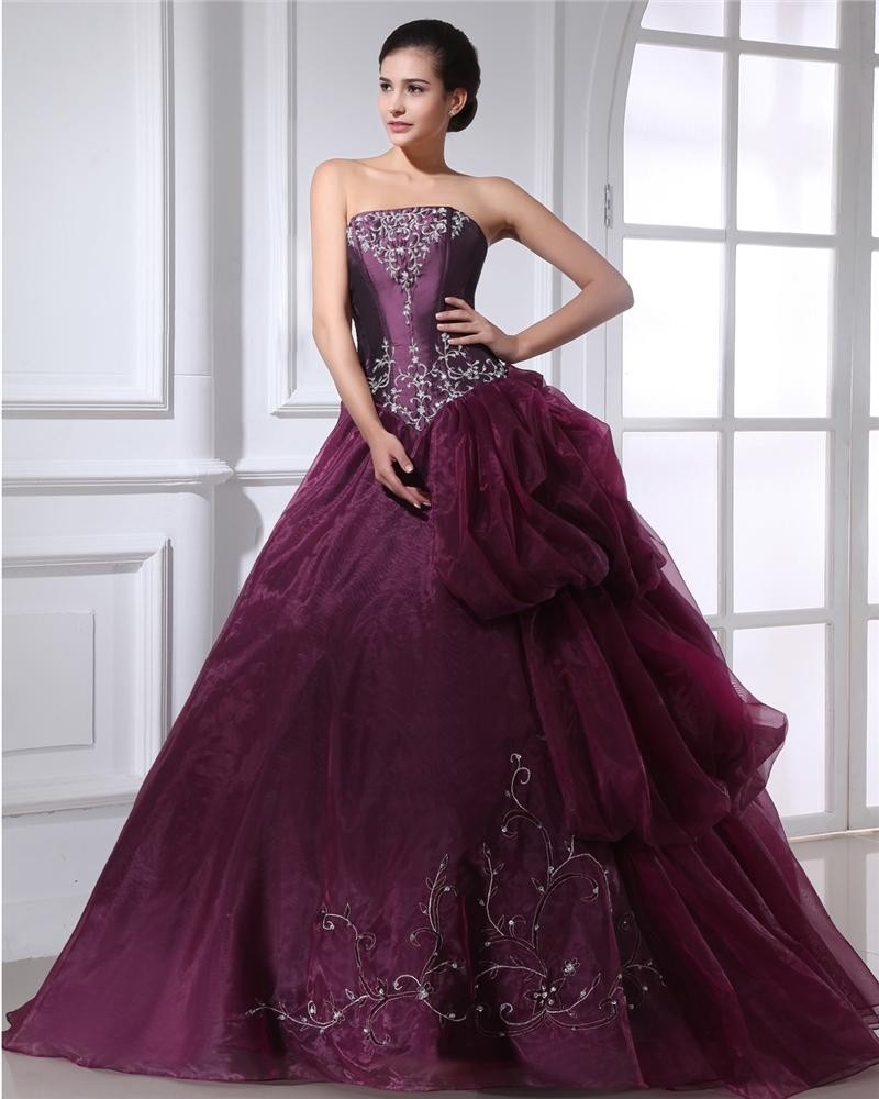 Ball Gown Taffeta Organza Applique Ruffle Beading Strapless Floor Length Quinceanera Prom Dresses