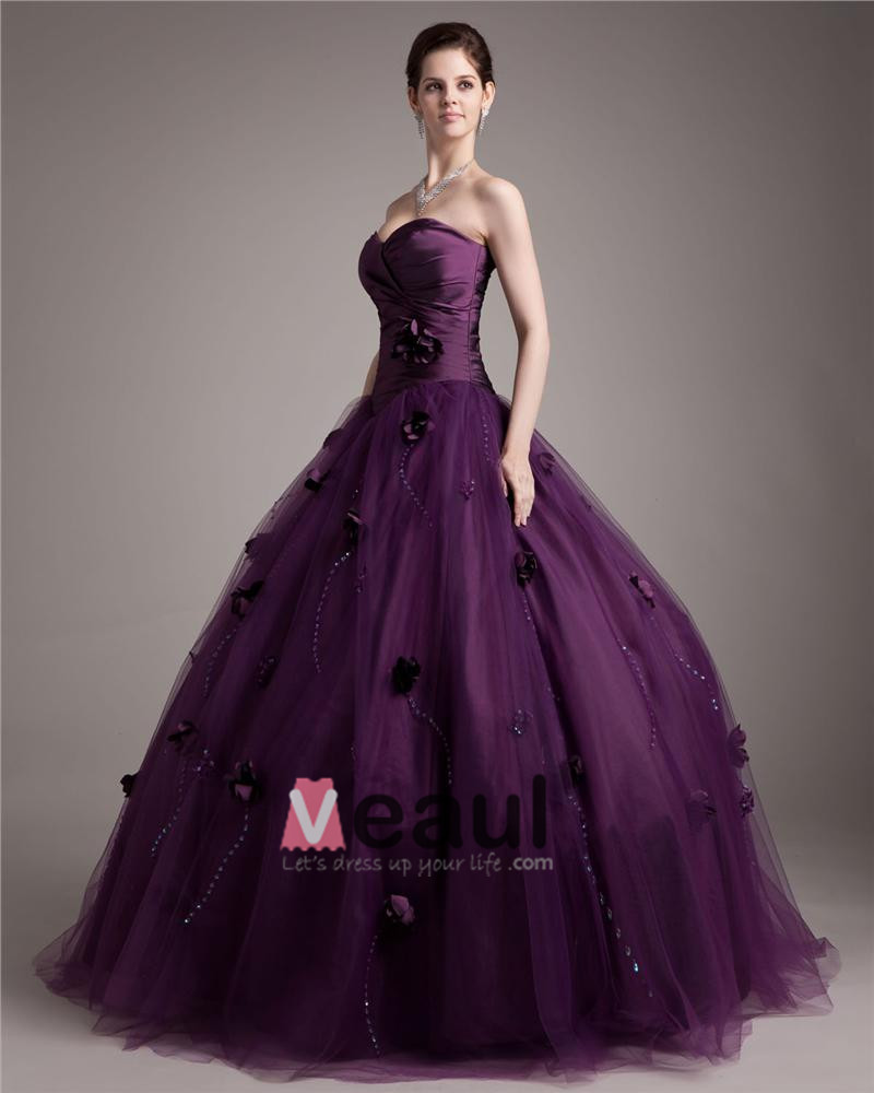 Ball Gown Taffeta Tulle Beading Hand Flower Sweetheart Floor Length Quinceanera Prom Dresses