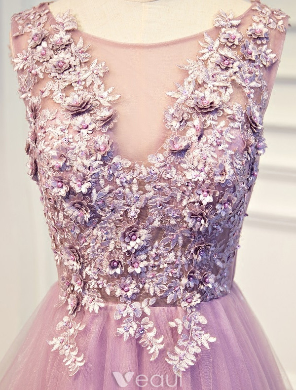 Beautiful Prom Dresses 2017 Applique And Beading Lace Lilac Tulle Long Dress