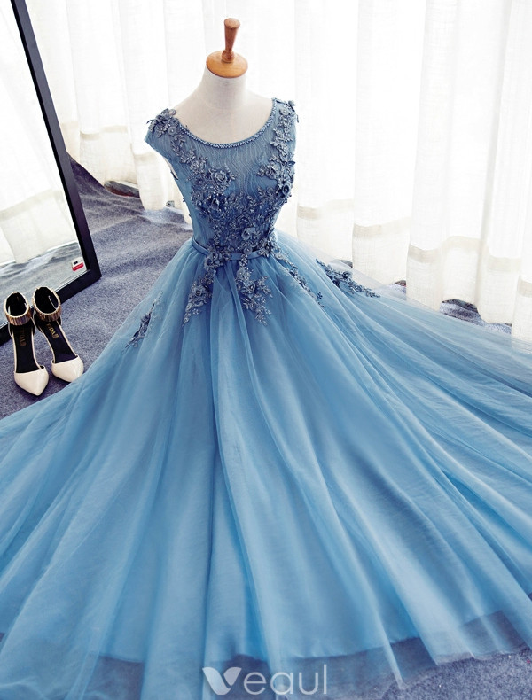 Beautiful Prom Dresses 2017 Beading Scoop Neckline Applique Lace And Flowers Long Dress