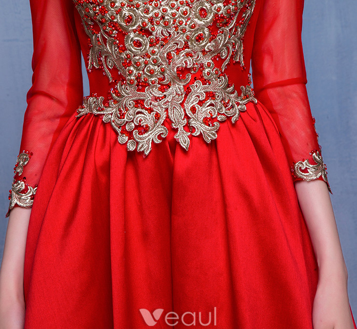 Beautiful Prom Dresses 2017 Scoop Neck Embroidered Gold Flower Ruffle Red Satin Dress