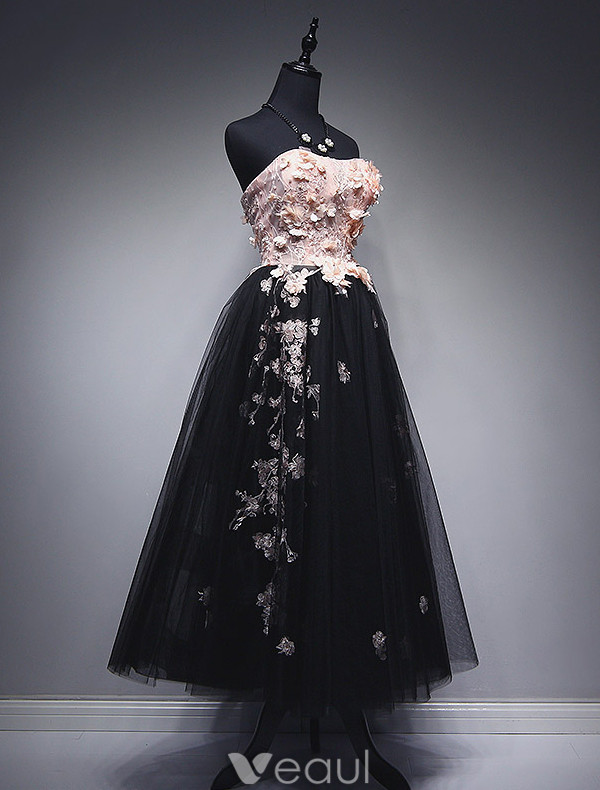 Beautiful Prom Dresses 2017 Strapless Applique Lace And Flowers Ruffled Black Tulle Dress
