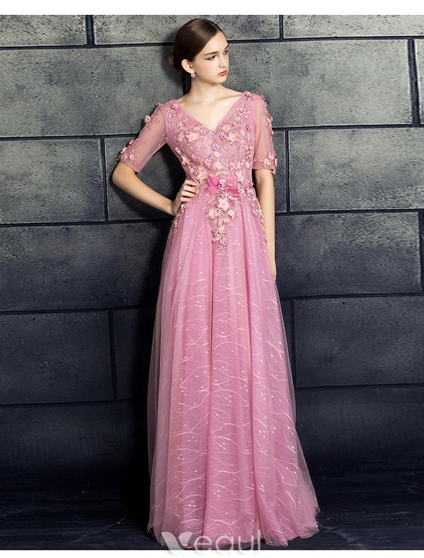 Beautiful Prom Dresses 2017 V-neck Applique Lace Flowers Pink Dress
