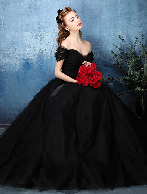 Beautiful Simple Ball Gown Off The Shoulder Sweetheart Black Tulle Prom Dress 2016 With Bow Sash
